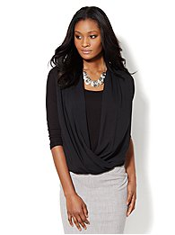 Mixed-Fabric Faux-Wrap Top - Solid