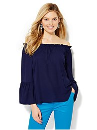 Off-the-Shoulder Bell-Sleeve Blouse