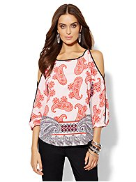 Paisley Cold-Shoulder Blouse - Red Harbor