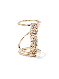 Pave-Bar Knuckle Ring
