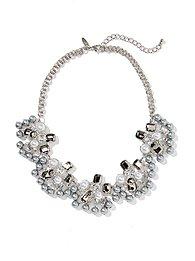 Pearl & Faux Stones Fan Necklace