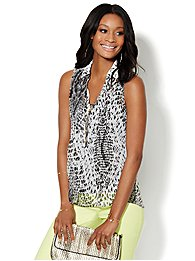 Pintuck Sleeveless Blouse - Animal Print
