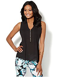 Pintuck Sleeveless Blouse - Solid