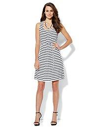 Pleat-Neck Stripe Dress
