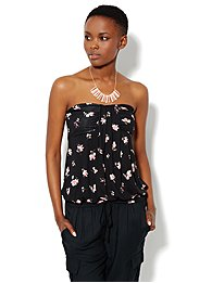 Pleated Knit Tube Top - Floral