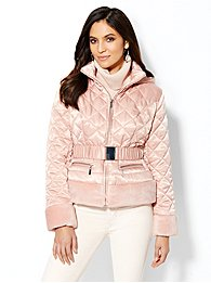 Plush-Trim Quilted Puffer Jacket