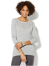 Pointelle Elliptical Tunic Sweater