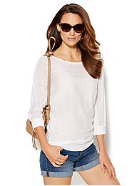 Pointelle-Knit Sweater