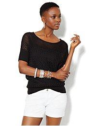 Pointelle Short Dolman-Sleeve Sweater