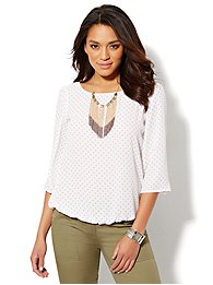Polka-Dot Bubble-Hem Blouse
