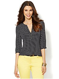 Polka-Dot Split-Neck Top