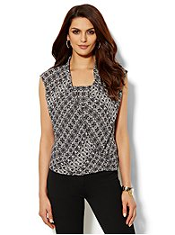 Printed Faux-Wrap Sleeveless Top