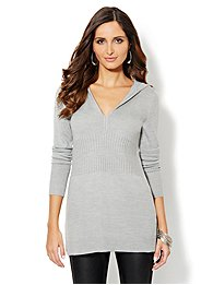 Ribbed-Knit Hooded Tunic Sweater