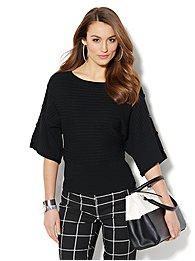 Ribbed-Knit Kimono-Sleeve Sweater