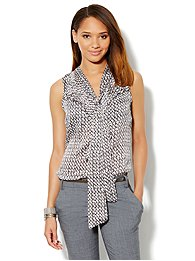 Ruffle-Front Bow Blouse - Abstract Print