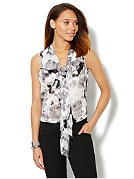 Ruffle-Front Bow Blouse - Floral