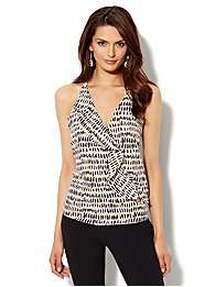 Ruffle-Front Print Camisole