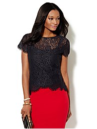 Scalloped Hi-Lo Open-Lace Tee