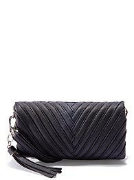 Seamed Faux-Leather Crossbody Bag