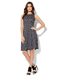 Seamed Skater Dress - Windowpane