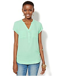 Short-Sleeve Split-Neck Blouse