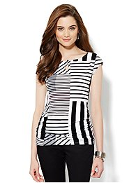 Side-Shirred Knit Top - Stripe