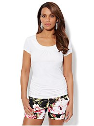 Side-Shirred Top - White