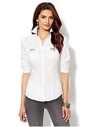 Silver Hardware Button-Front Shirt