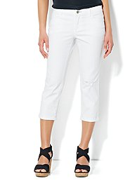 Skinny Destroyed Crop Jean - Optic White