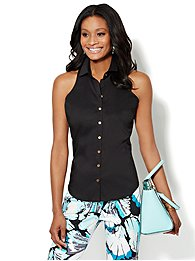 Sleeveless Button-Front Shirt - Petite