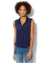 Sleeveless Mixed-Knit Shirt