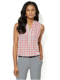 Sleeveless Split-Neck Blouse - Windowpane Print