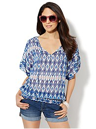 Smocked Split-Neck Blouse - Ikat