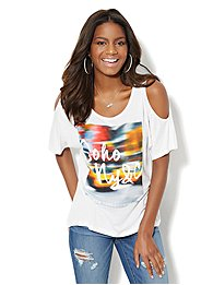 Soho Jeans Cold-Shoulder Tee