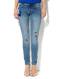 Soho Jeans Destroyed Legging - Rip & Tear Blue - Tall