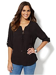 Soho Soft Popover Shirt - Lace-Up