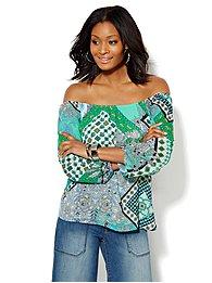 Soho Soft Shirt - Off-the-Shoulder Blouse - Multi-Print