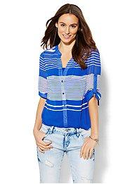 Soho Soft Shirt - Split-Neck Blouse - Stripe - Petite