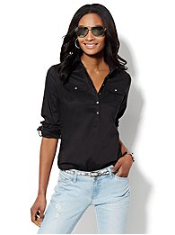 Solid Cotton-Blend Popover Stretch Shirt