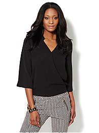 Solid Faux-Wrap Surplice Blouse