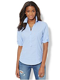 Solid Popover Shirt - Dashing Blue