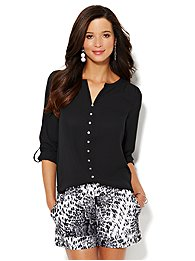 Solid Splitneck Blouse