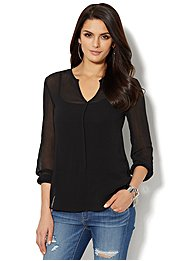 Split-Neck Chiffon Top
