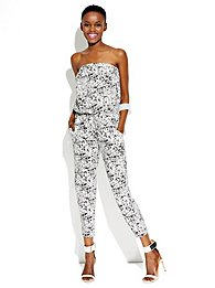 Strapless Abstract-Print Jumpsuit
