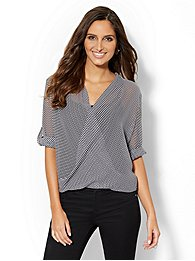 Striped Chiffon Faux-Wrap Blouse