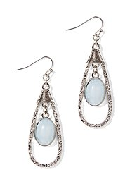 Texture-Frame Blue Teardrop Earrings