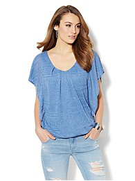 Textured Flutter-Sleeve Top