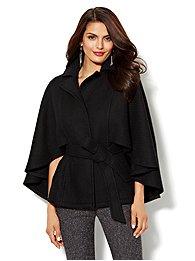 Textured Wool-Blend Cape Coat