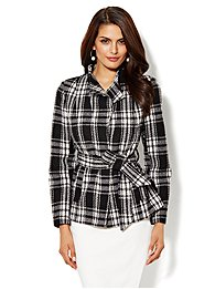 The Wrap Funnel-Neck Coat - Plaid