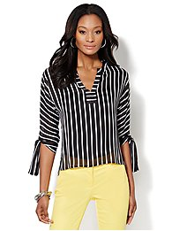 Tie-Sleeve Hi-Lo Blouse - Striped